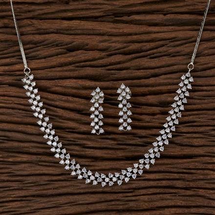 570098 Cz Delicate Necklace with Rhodium Plating