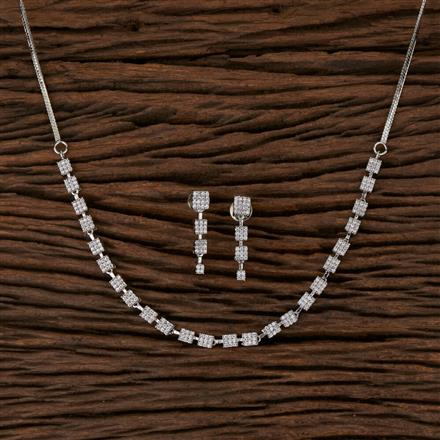 570100 Cz Delicate Necklace with Rhodium Plating
