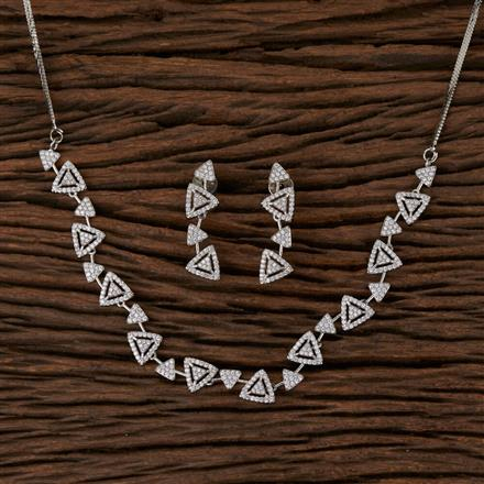 570103 Cz Delicate Necklace with Rhodium Plating
