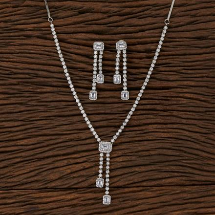 570107 Cz Classic Necklace with Rhodium Plating