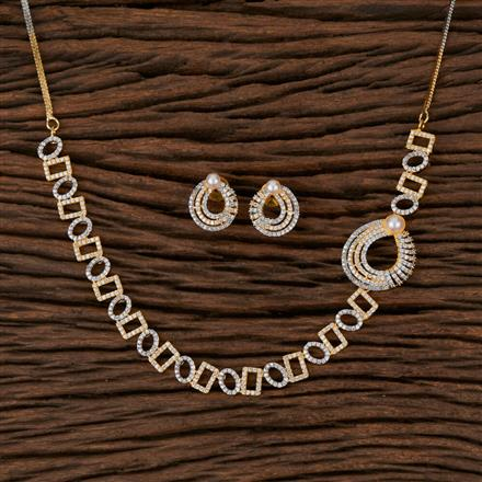 570113 Cz Classic Necklace with 2 Tone Plating