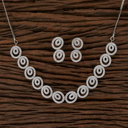 570116 Cz Delicate Necklace with Rhodium Plating