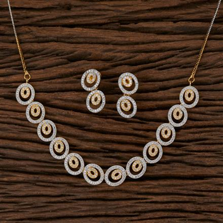 570117 Cz Delicate Necklace with 2 Tone Plating