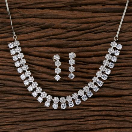 570122 Cz Classic Necklace with Rhodium Plating