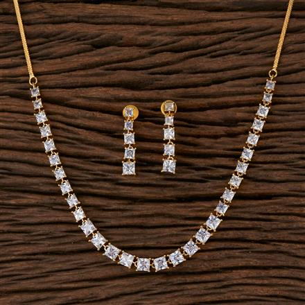 570127 Cz Delicate Necklace with 2 Tone Plating