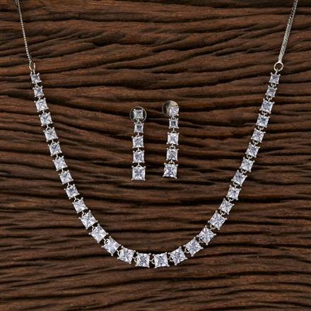570128 Cz Delicate Necklace with Rhodium Plating