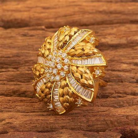 58423 CZ Classic Ring with gold plating