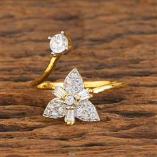 59265 CZ Delicate Ring with 2 tone plating