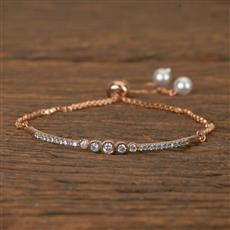 60196 Cz Adjustable Bracelet With Rose Gold Plating