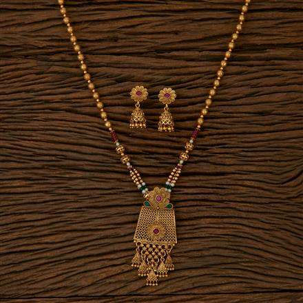 610019 Antique Mala Pendant set with Gold Plating