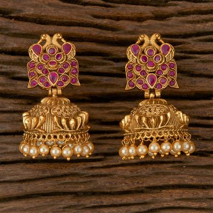 610044 Antique Jhumkis with Gold Plating
