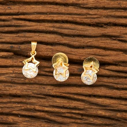61187 Cz Delicate Pendant Set with gold plating
