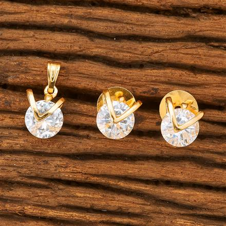 61188 Cz Delicate Pendant Set with gold plating