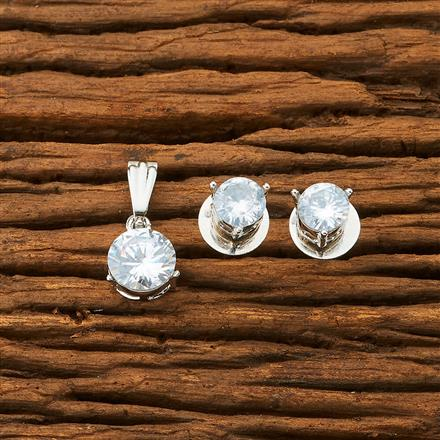 61488 Cz Delicate Pendant set with rhodium plating