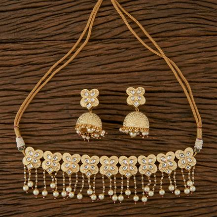 620038 Kundan Choker Necklace with Gold Plating
