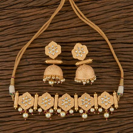 620040 Kundan Choker Necklace with Gold Plating