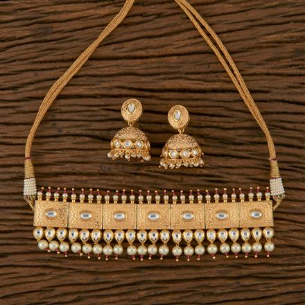 620043 Kundan Choker Necklace with Gold Plating
