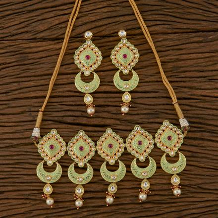 620046 Kundan Choker Necklace with Gold Plating