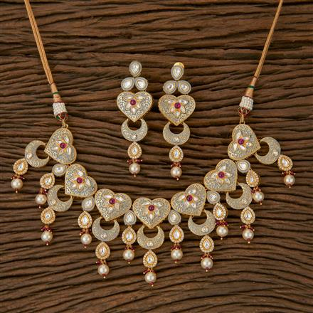 620048 Kundan Classic Necklace with Gold Plating