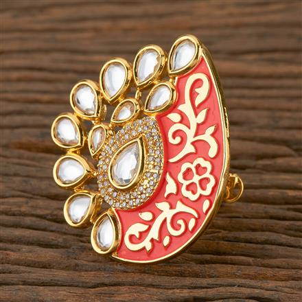 620118 Kundan Classic Ring with Gold Plating