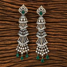 63210 CZ Long Earring with black plating