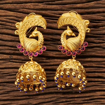 63552 Designer Peacock Earring with gold plating