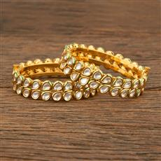 640000 Kundan Openable Bangles With Gold Plating