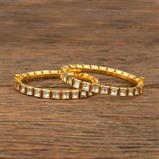 640001 Kundan Delicate Bangles With Gold Plating