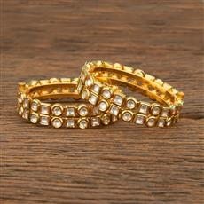 640002 Kundan Openable Bangles With Gold Plating
