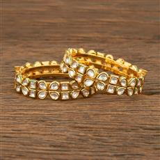 640003 Kundan Openable Bangles With Gold Plating