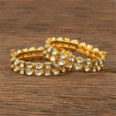 640004 Kundan Openable Bangles With Gold Plating