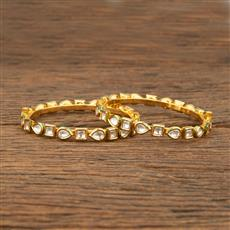 640005 Kundan Delicate Bangles With Gold Plating