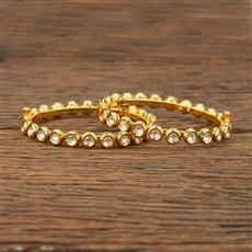 640006 Kundan Delicate Bangles With Gold Plating
