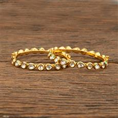 640007 Kundan Delicate Bangles With Gold Plating