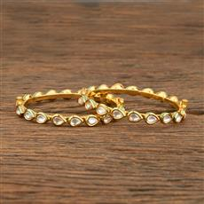 640008 Kundan Delicate Bangles With Gold Plating
