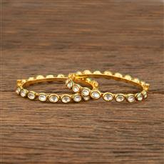 640009 Kundan Delicate Bangles With Gold Plating