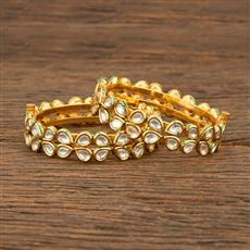 640019 Kundan Openable Bangles With Gold Plating