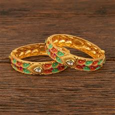 640020 Antique Openable Bangles With Gold Plating