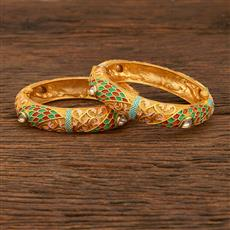 640022 Antique Openable Bangles With Matte Gold Plating