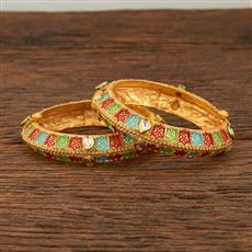 640025 Antique Openable Bangles With Matte Gold Plating
