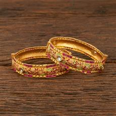640026 Antique Openable Bangles With Gold Plating