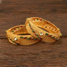 640028 Antique Openable Bangles With Gold Plating