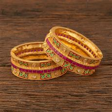 640031 Antique Openable Bangles With Gold Plating