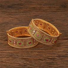 640036 Antique Openable Bangles With Gold Plating