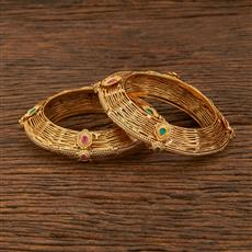 640037 Antique Openable Bangles With Gold Plating
