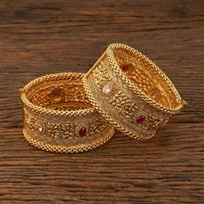 640040 Antique Openable Bangles With Gold Plating