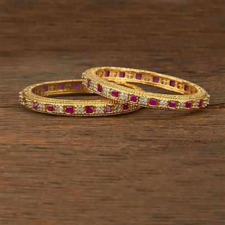 640047 Cz Classic Bangles With Gold Plating