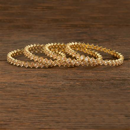 640056 Cz Classic Bangles With Gold Plating