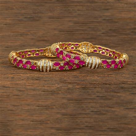 640059 Cz Classic Bangles With Gold Plating
