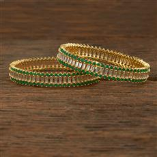 640063 Cz Classic Bangles With Gold Plating